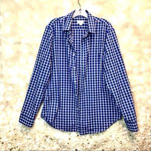 Club Monaco women gingham style button down shirt